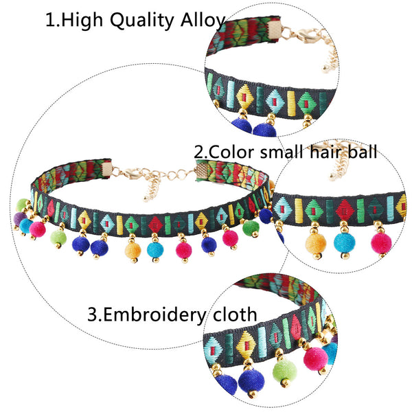 Colored ball tassel necklace