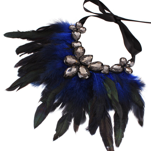 Feather rhinestone necklace