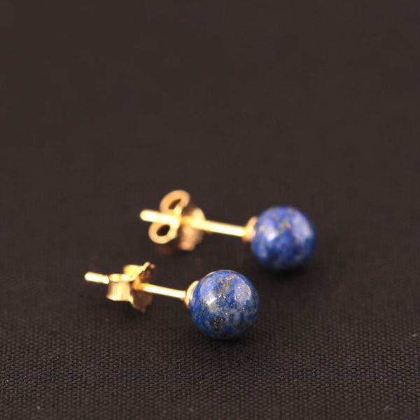 925 Sterling Silver Retro pure natural lapis lazuli earrings