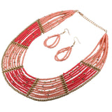 Bead Earrings Necklace 2Pcs Set