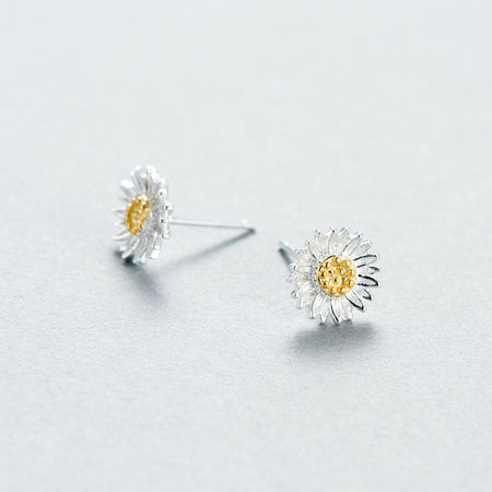 925 Sterling Silver Golden Korean Circle earrings