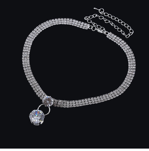 Diamond zircon necklace