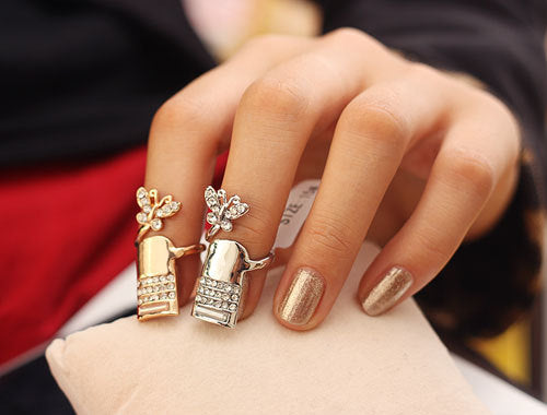 Bowknot diamonds fingernail Rings