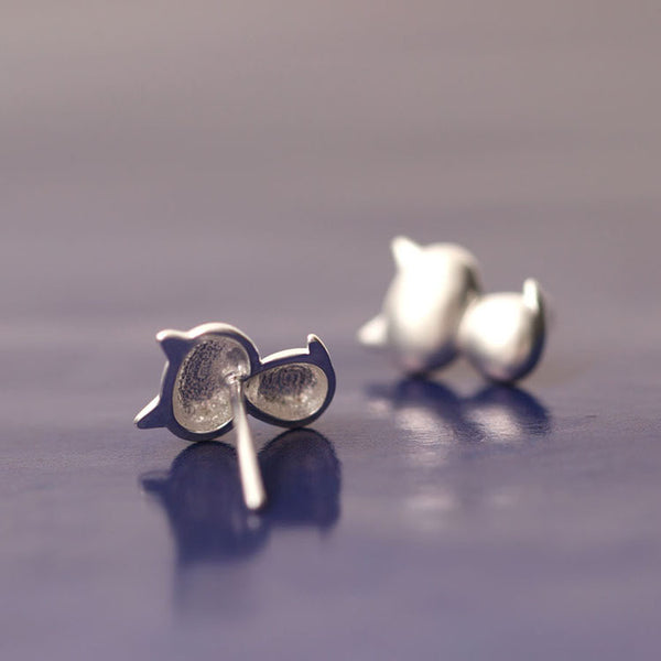 925 Sterling Silver Little fat cat earrings