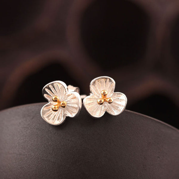 925 Sterling Silver  Three color flowers earrings