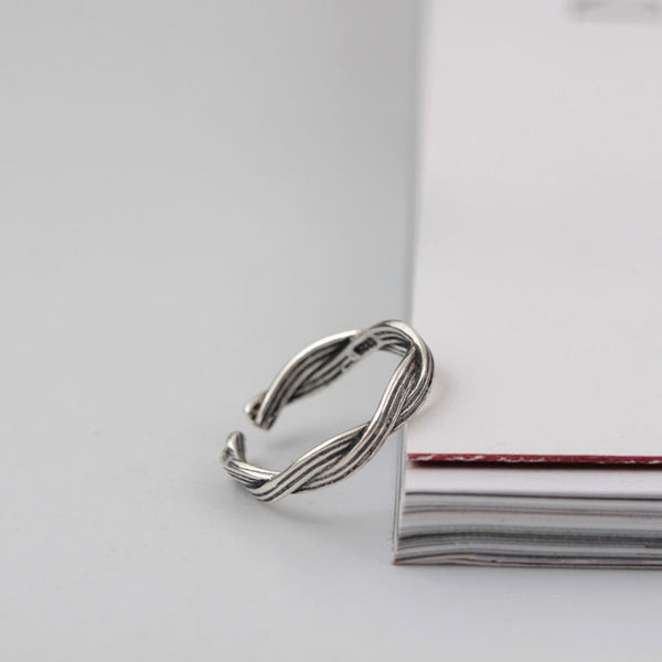 925 sterling silver Thai silver twist rings