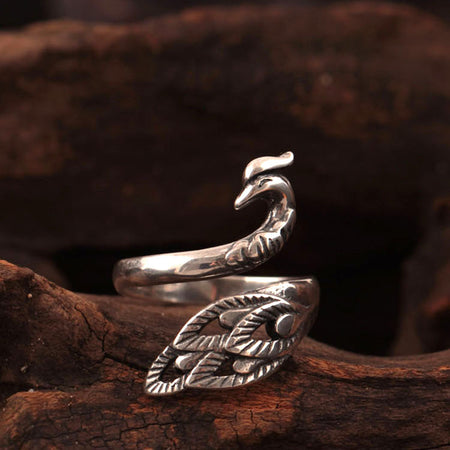 925 sterling silver Elephant drawing rings
