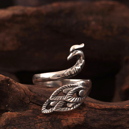 925 sterling silver peacock rings