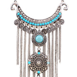 Coin Pendant Fringed Necklace 2Pcs Set