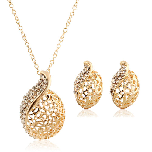 Round hollow diamond necklace earrings 2pcs set