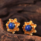 925 Sterling Silver Lapis lazuli lotus earrings