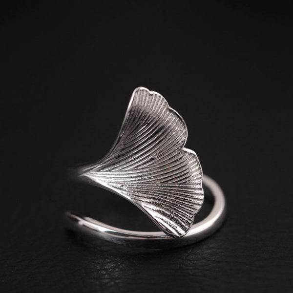 925 sterling silver Ginkgo leaves ring