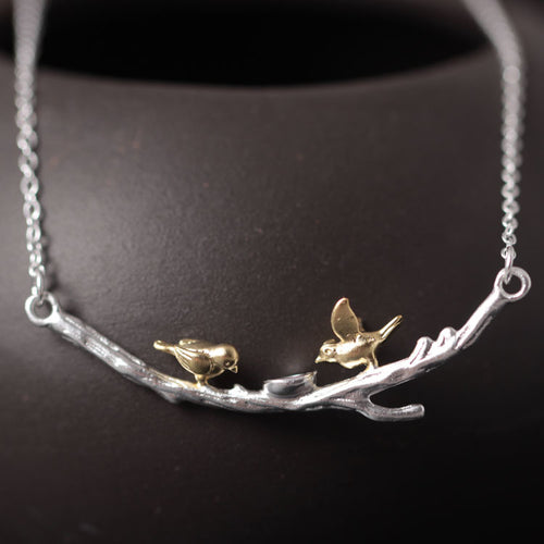 925 Sterling Silver Tree branches Birdie necklaces