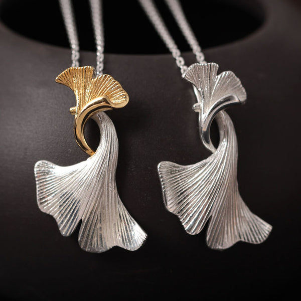 926 Sterling Silver Double ginkgo leaves clavicle chain