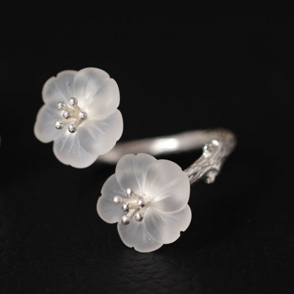 925 sterling silver Natural white crystal pear rings