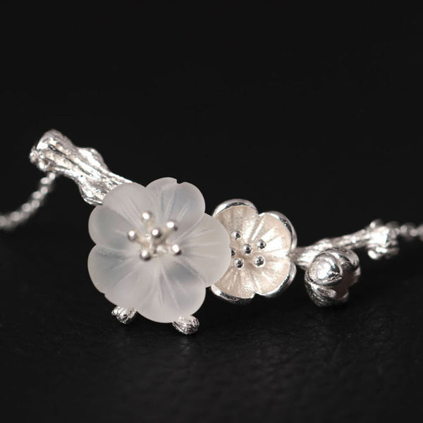 925 Sterling Silver Natural crystal plum necklace