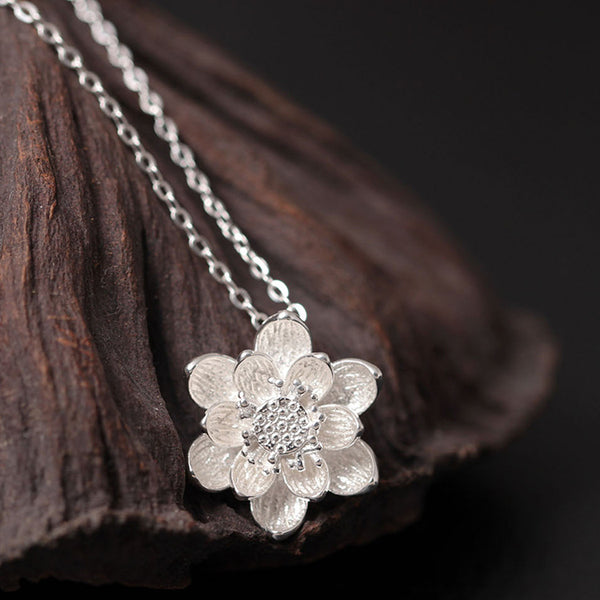 925 Sterling Silver Two-color lotus necklace