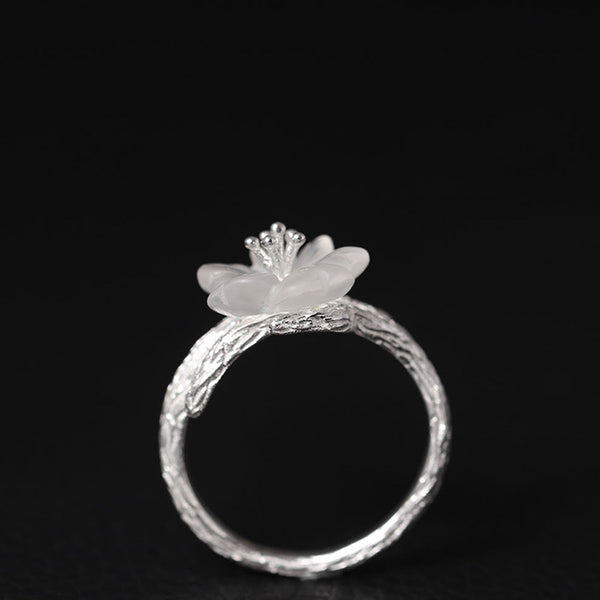 925 sterling silver plum blossom leaves  ring