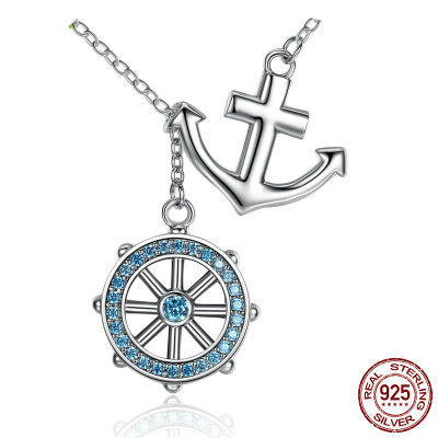 925 Sterling Silver Round anchor necklaces