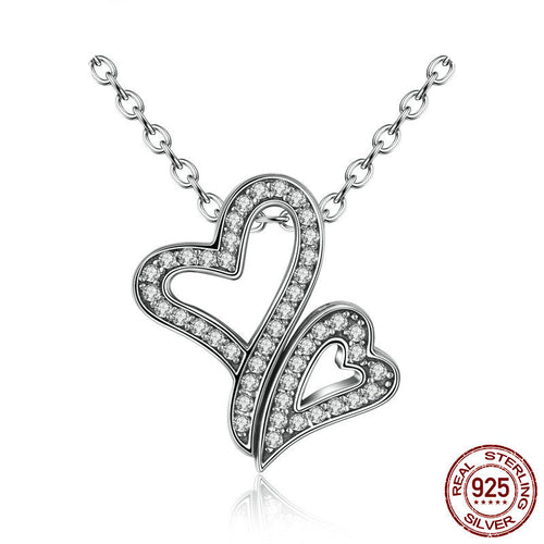925 Sterling Silver Heart to heart necklaces