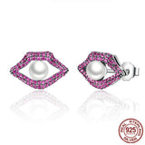 925 Sterling Silver Lips Earring