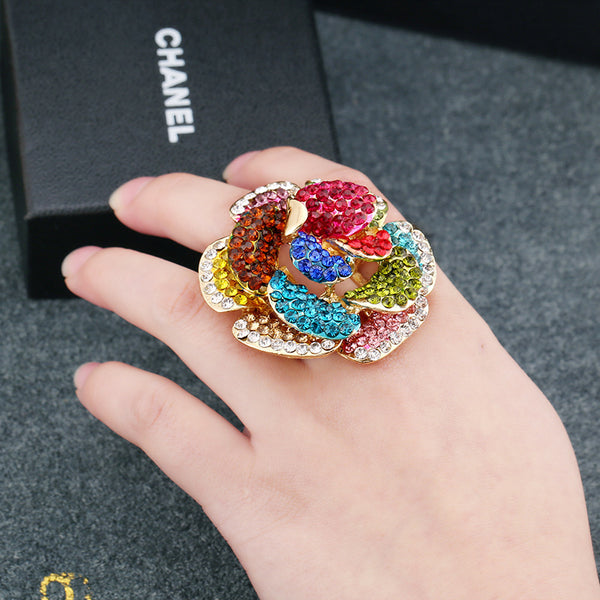 Colored flower ring