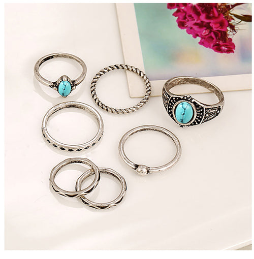 Turquoise small ring 7PCS suit