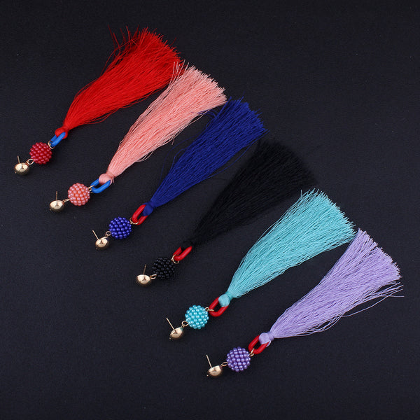 Bead ball tassel pendant earrings long section