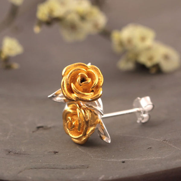 925 Sterling Silver Rose earrings