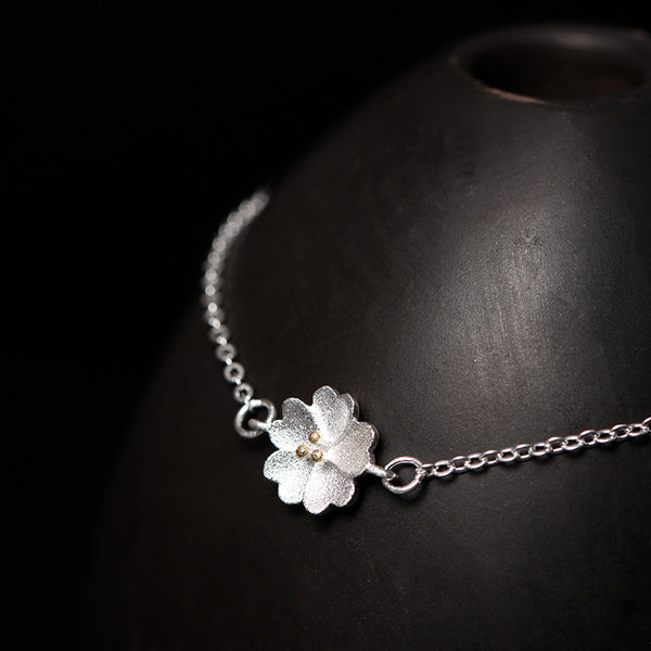 925 Sterling Silver Cherry blossoms  bracelet
