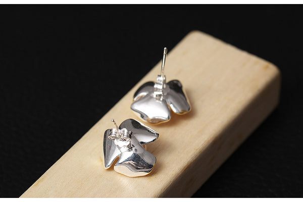 925 Sterling Silver  Clover petals natural freshwater pearls earrings