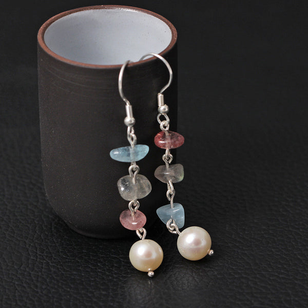 925 Sterling Silver Pearl crystal long earrings