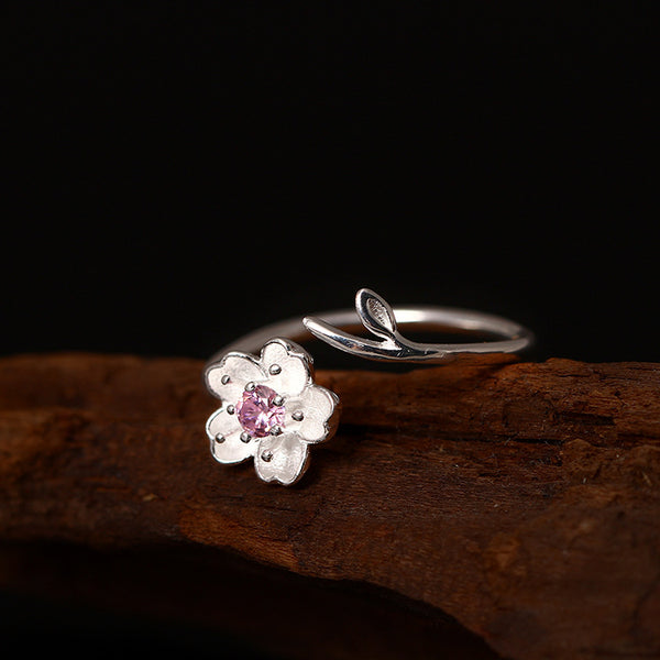 925 sterling silver Pink twig cherry blossoms rings