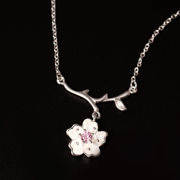 925 Sterling Silver Sakura flowers  necklaces