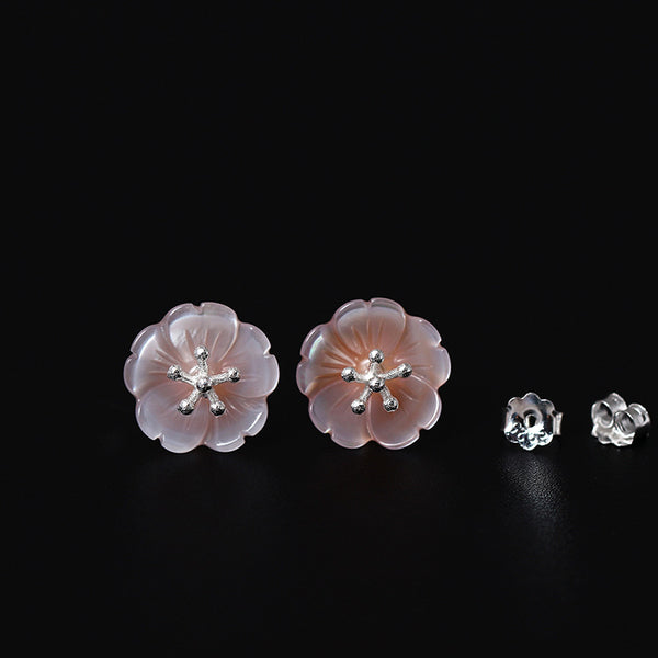 925 Sterling Silver Rose gold shell flower earrings
