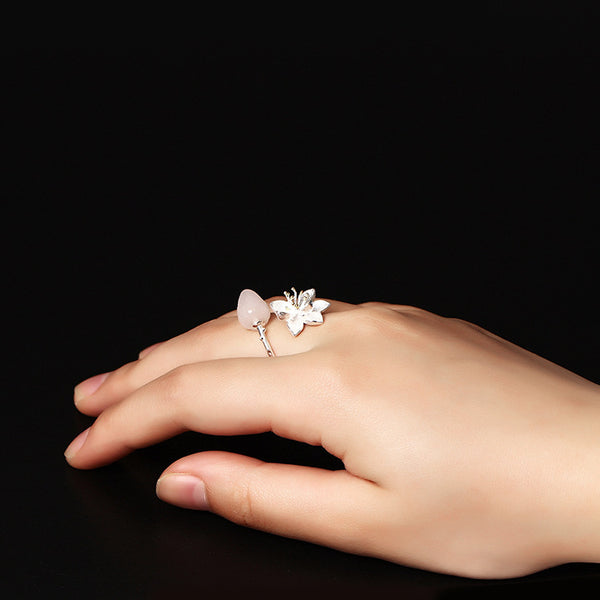 925 sterling silver Crystal lotus ring