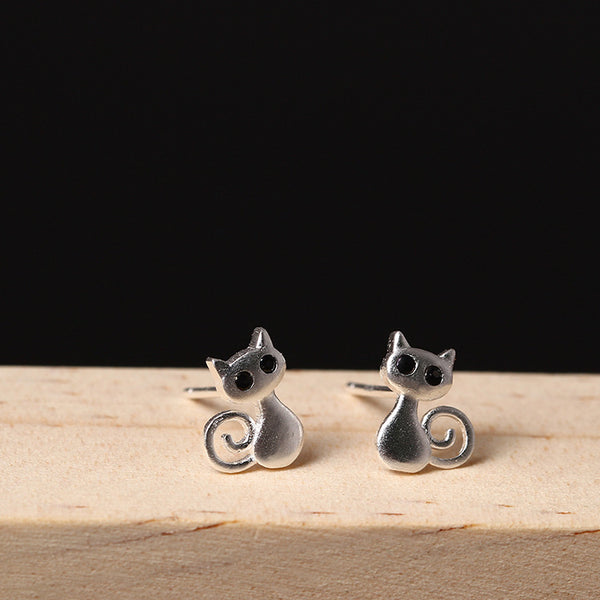 925 Sterling Silver Three-dimensional cat earrings