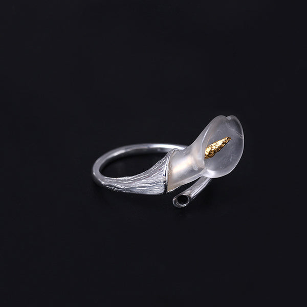 925 sterling silver Crystal calla rings