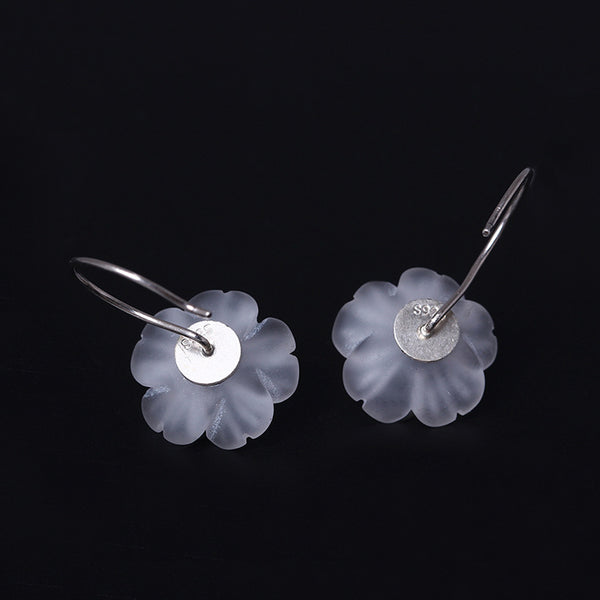 925 Sterling Silver Plum crystal earrings