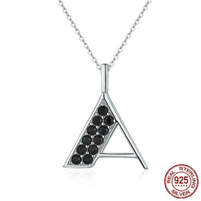 "925 Sterling Silver ""A"" font necklaces"