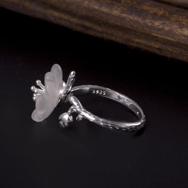 925 sterling silver Crystal plum branches  rings