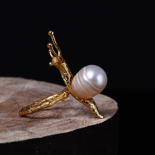 925 sterling silver Pearl snail  rings