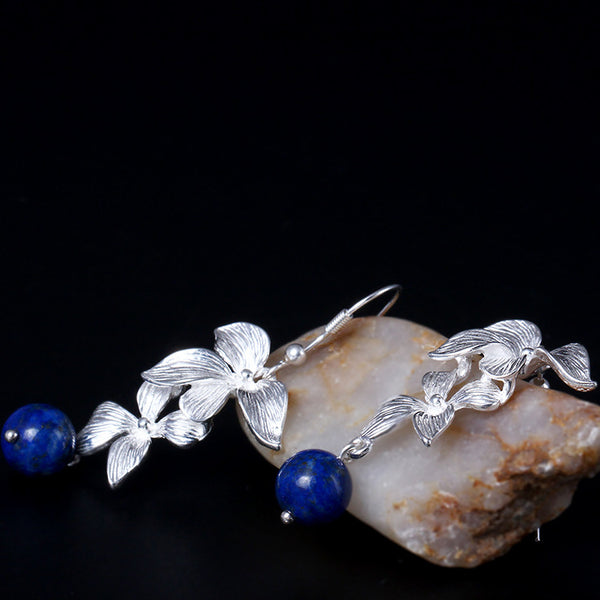 925 Sterling Silver  Lapis orchid earrings  Long section