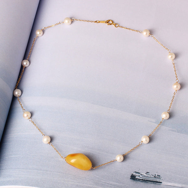 14k  Gypsophila Beeswax pearl necklace