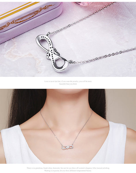 925 Sterling Silver Love '8' letter necklaces