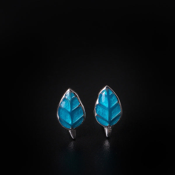 925 Sterling Silver Blue leaves earrings