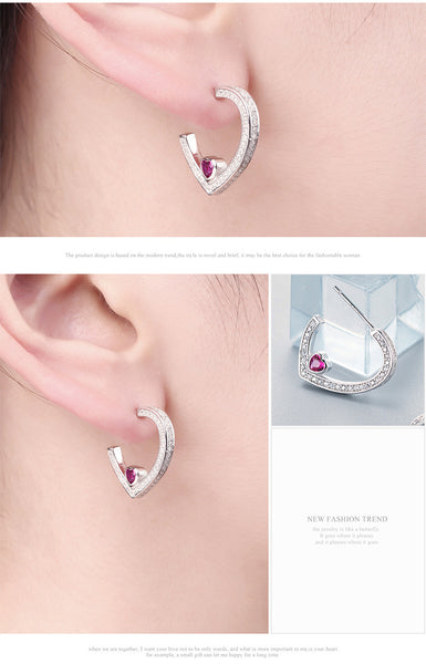 925 Sterling Silver Heart-shaped Earring