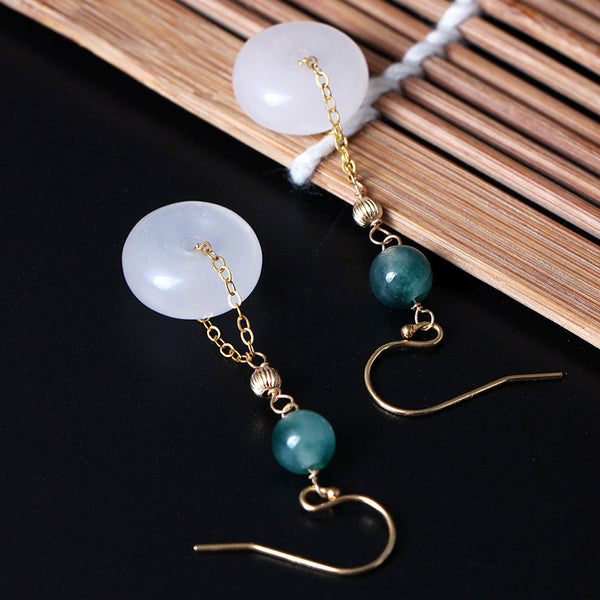 14k bag White jade earrings long section