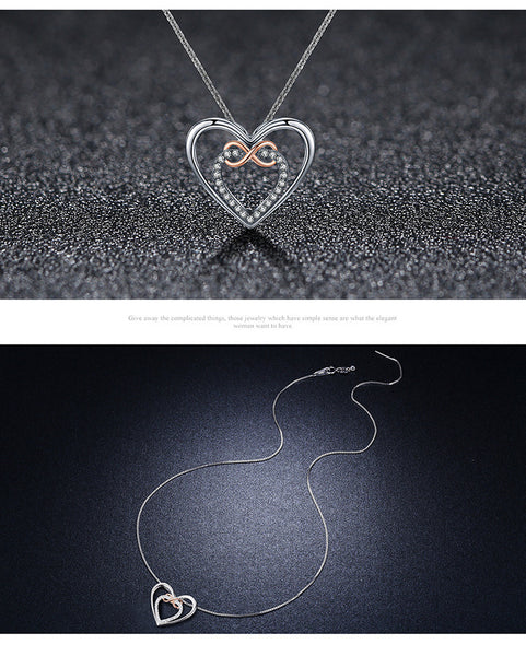 925 Sterling Silver Heart-shaped necklaces
