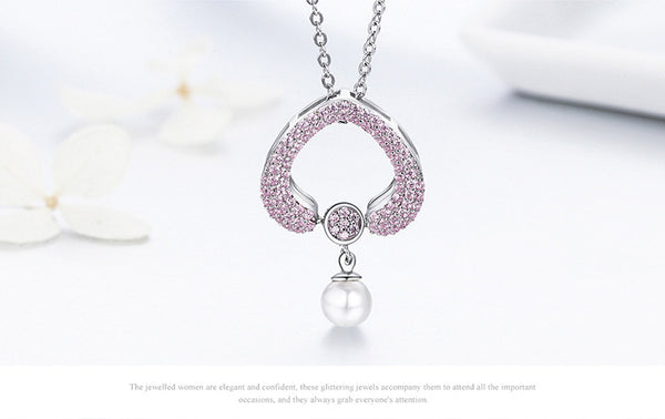925 Sterling Silver Heart-shaped pearl necklaces